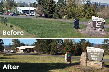 Before and after highway views of the ranger station