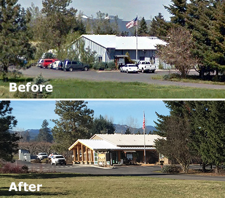 Before and after views of the ranger station