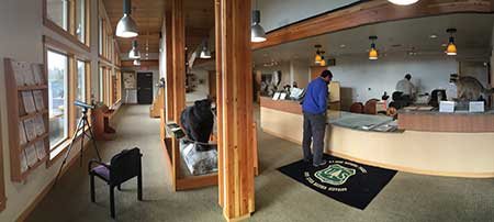 Interior panorama of the visitors center (note telescope on the left)