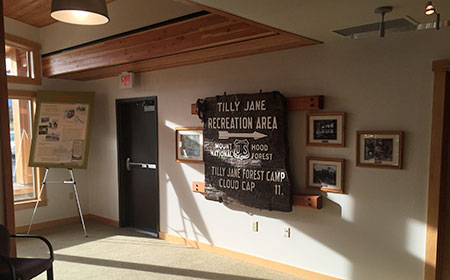 History displays at the west end of the new facility