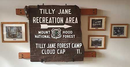Historic Tilly Jane sign anchoring the history displays