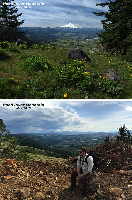 Before-and-after views of the savaged summit area