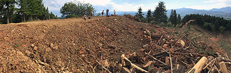 """Panorama of the """"new"""" summit piled on top of Hood River Mountain"""