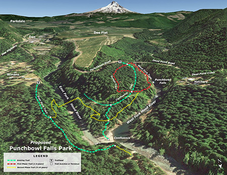 Map of proposed trail network at Punchbowl Park