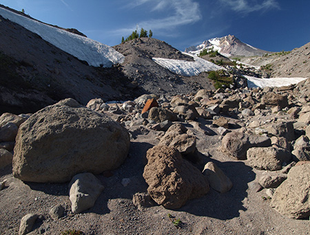 The source of the Salmon River at the terminus of the Palmer Glacier