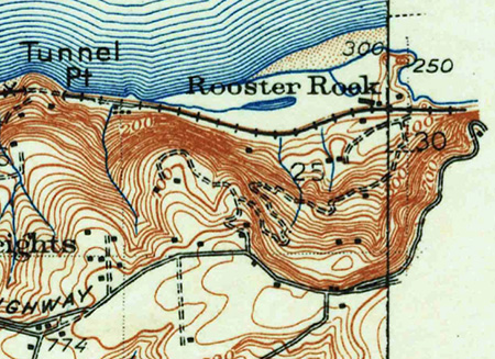 Another early map view, this time from around 1900, showing the steep access road that connected the cannery at Rooster Rock to Chanticleer Point and the historic Columbia River Highway on the rim of the Gorge.