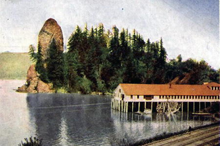 Rooster Rock and salmon cannery in the early 1900s.