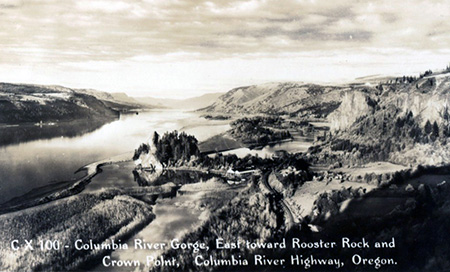 1920s view east from near Chanticleer Point showing Rooster Rock, the salmon cannery, original railroad, Echo Bay and Crown Point.