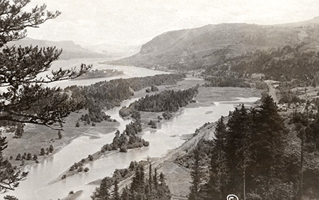 1920s view east from Crown Point showing the wetlands and meadows of Young Creek that extended east from Echo Bay (the edge of the bay is in the lower left corner of this photo)