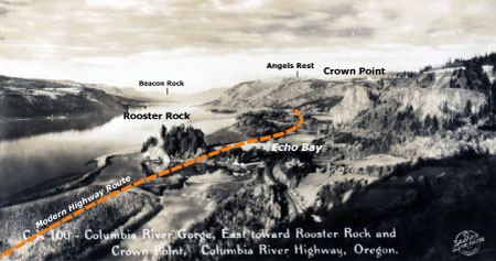 1920s view from Chanticleer Point with the approximate route of the modern highway shown as the dashed orange line, along with other landmarks in the Gorge.