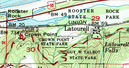 This 1954 map shows the (then new) modern highway and Mirror Lake of today, though the lake had not yet been named the Rooster Rock interchange and park developments had not been constructed.