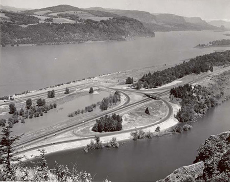 The brand-new interchange and Rooster Rock State Park as it appeared in the late 1950s, adjacent to Mirror Lake.