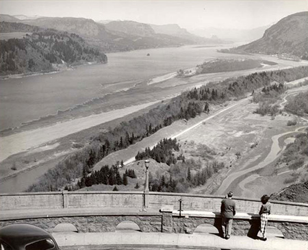 1950s view of the Young Creek lowlands east of Mirror Lake and the (then) new Highway 30.