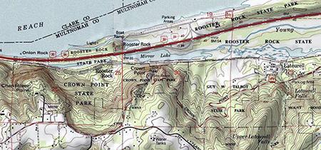 Modern topo maps of the Mirror Lake, Crown Point and the Rooster Rock State Park area.