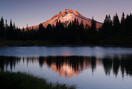 Summer evening view of Mount Hood from Mirror Lake