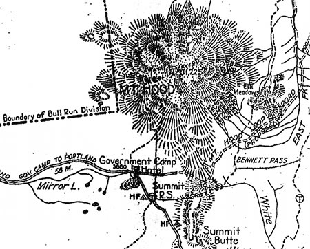 1920s-era map of Mount Hood and the Government Camp area