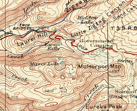 1920s map of the first paved alignment of the Mount Hood Loop Highway at Government Camp