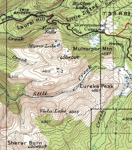 1920s map showing the Sherar Burn extent in the Mirror Lake area