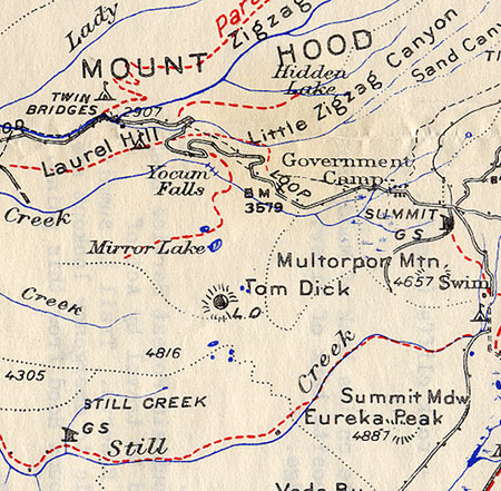 1930s map of the Mirror Lake Trail and surrounding area