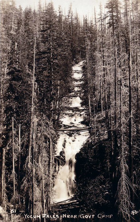 Yocum Falls as it once appeared from the original Mount Hood Loop Highway
