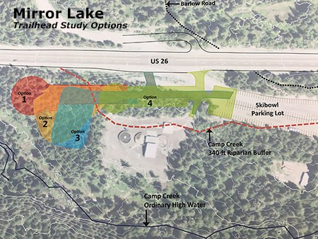 The Forest Service will soon build this new trailhead for popular Mirror Lake - a chance to try a different parking approach?